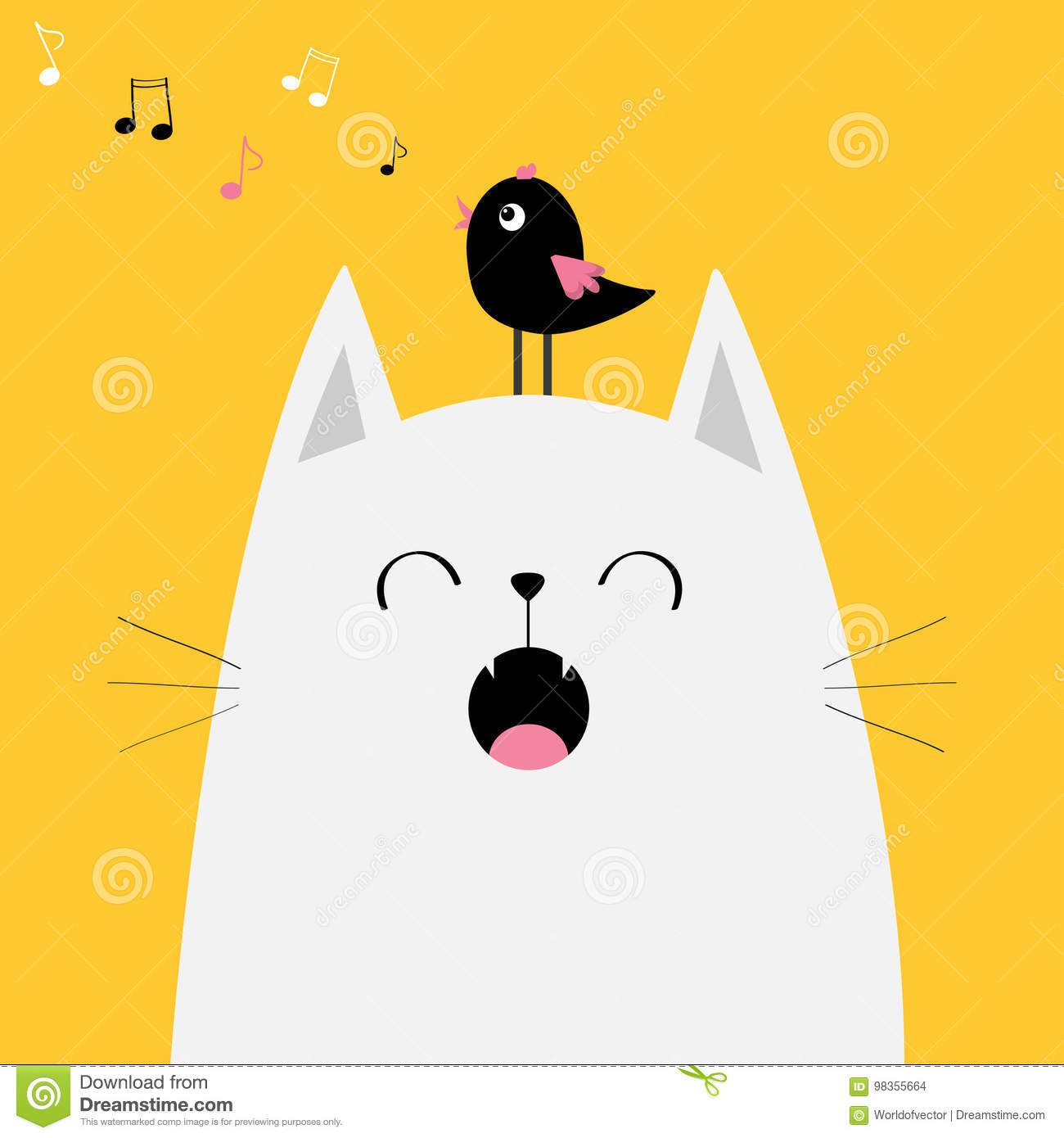 White Cat Face Silhouette Bird On Head Meowing Singing Song Music Note Flying