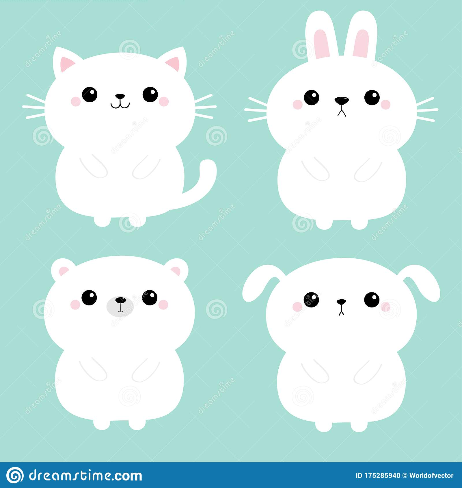 White Cat Kitten Kitty Bear Dog Puppy Rabbit Bunny Hare Icon Set Kawaii Animal Cute Cartoon Character Funny Baby Love Card Stock Vector Illustration Of Color Grizzly 175285940