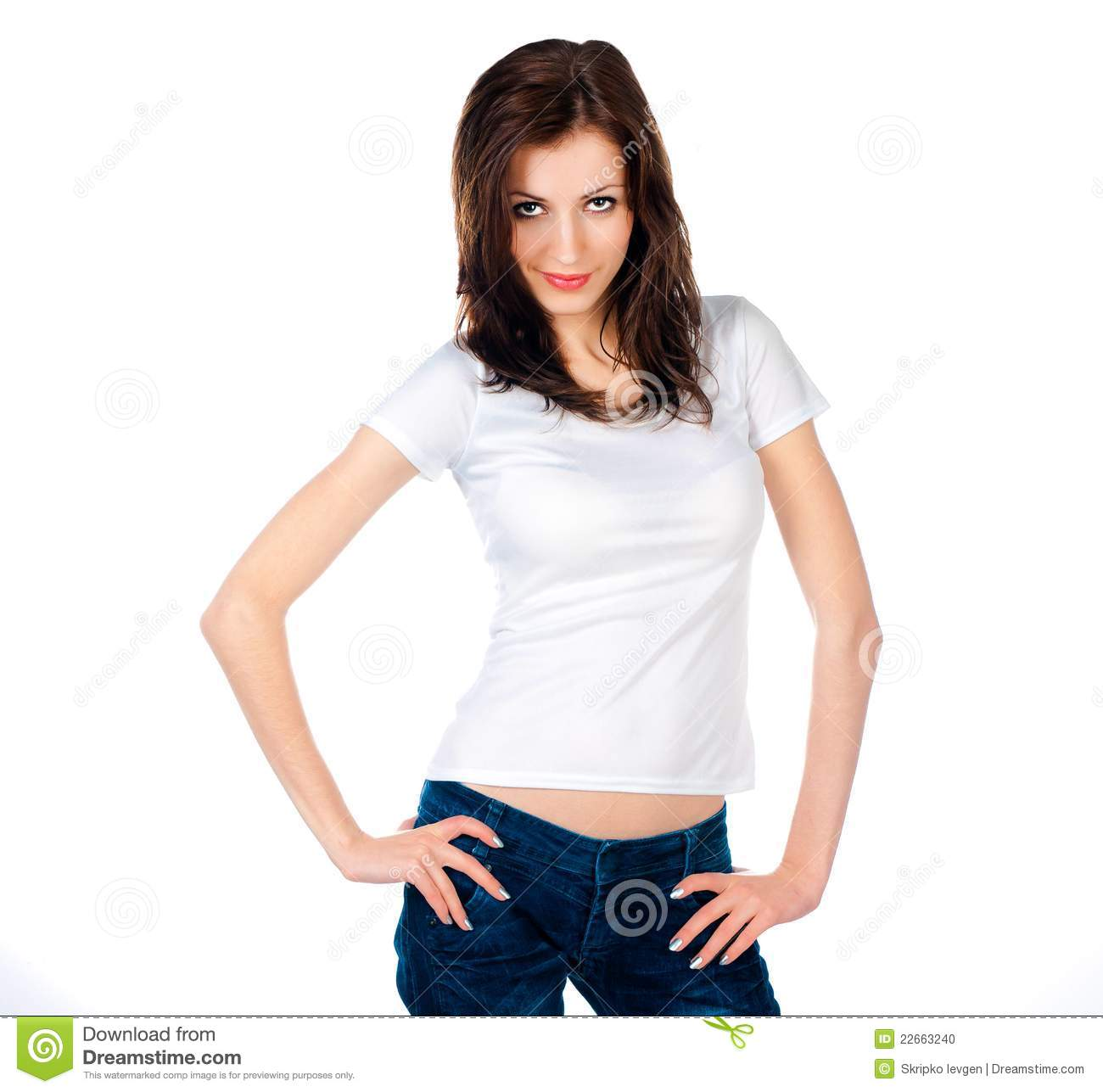 White Caucasian Teen Wearing A Clean T-Shirt Stock Photo ...