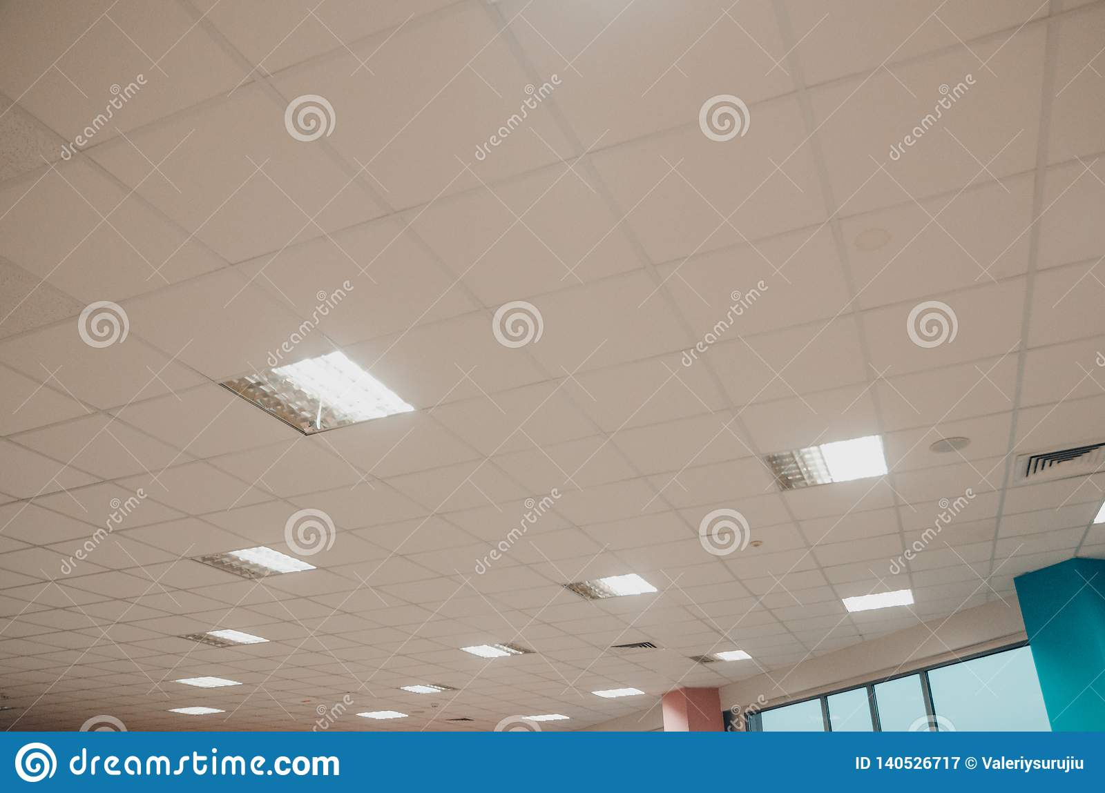 A ceiling with lamps