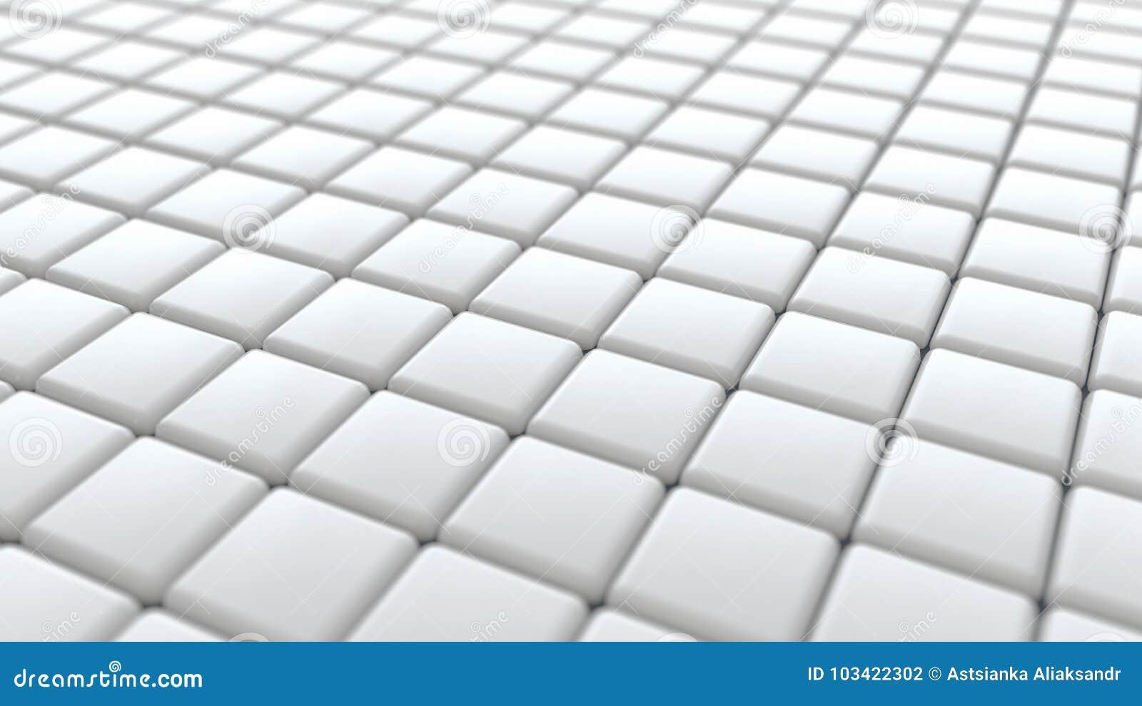 White Ceramic Bathroom Tiles 3d Rendering Background Stock