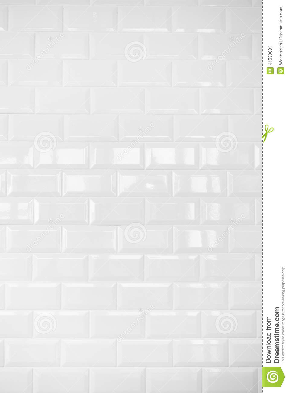 White Ceramic Brick Tile Wallbackground Stock Photo