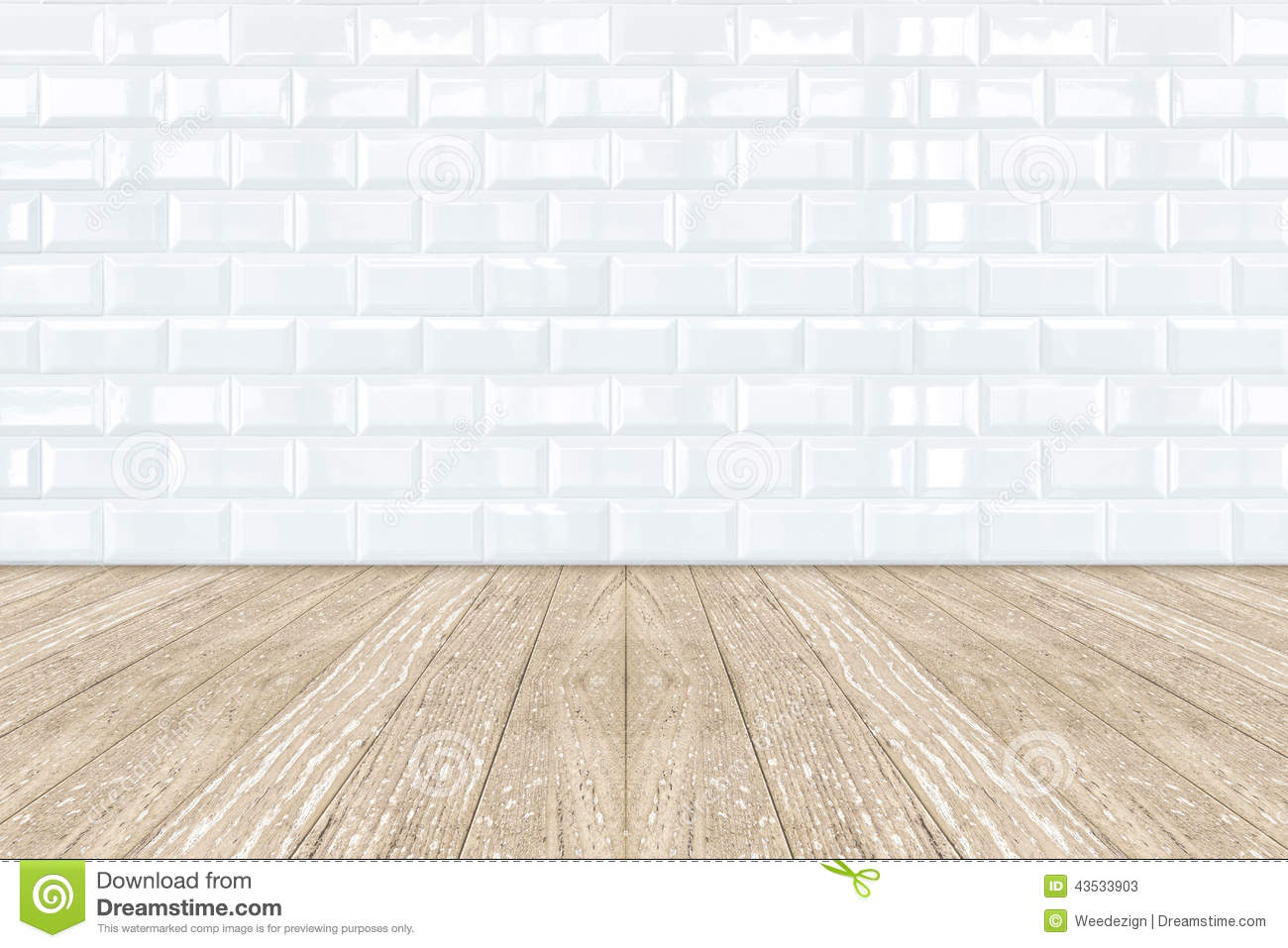 White tile flooring white ceramic brick tile wall and wooden floor stock photo image dailygadgetfo Images