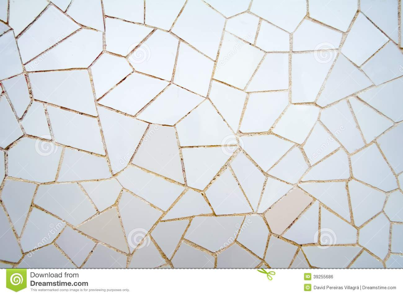 White Ceramic Mosaic Pattern In The Park Guell Stock Photo ...