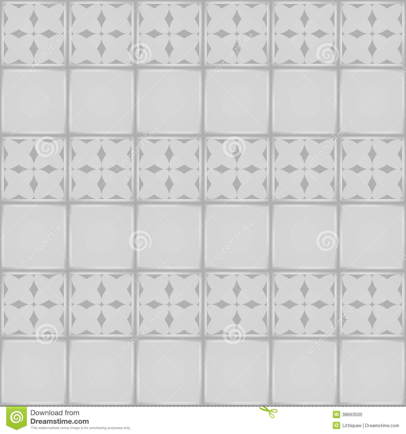 Designer White Abstract Ceramic Wall Tile Pack Of 8 L: White Ceramic Tile With Ornament Seamless Pattern Stock