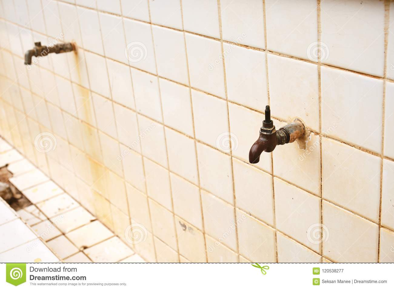 Broken Faucet Water Tap Mounted On The Ceramic Wall, Old School ...