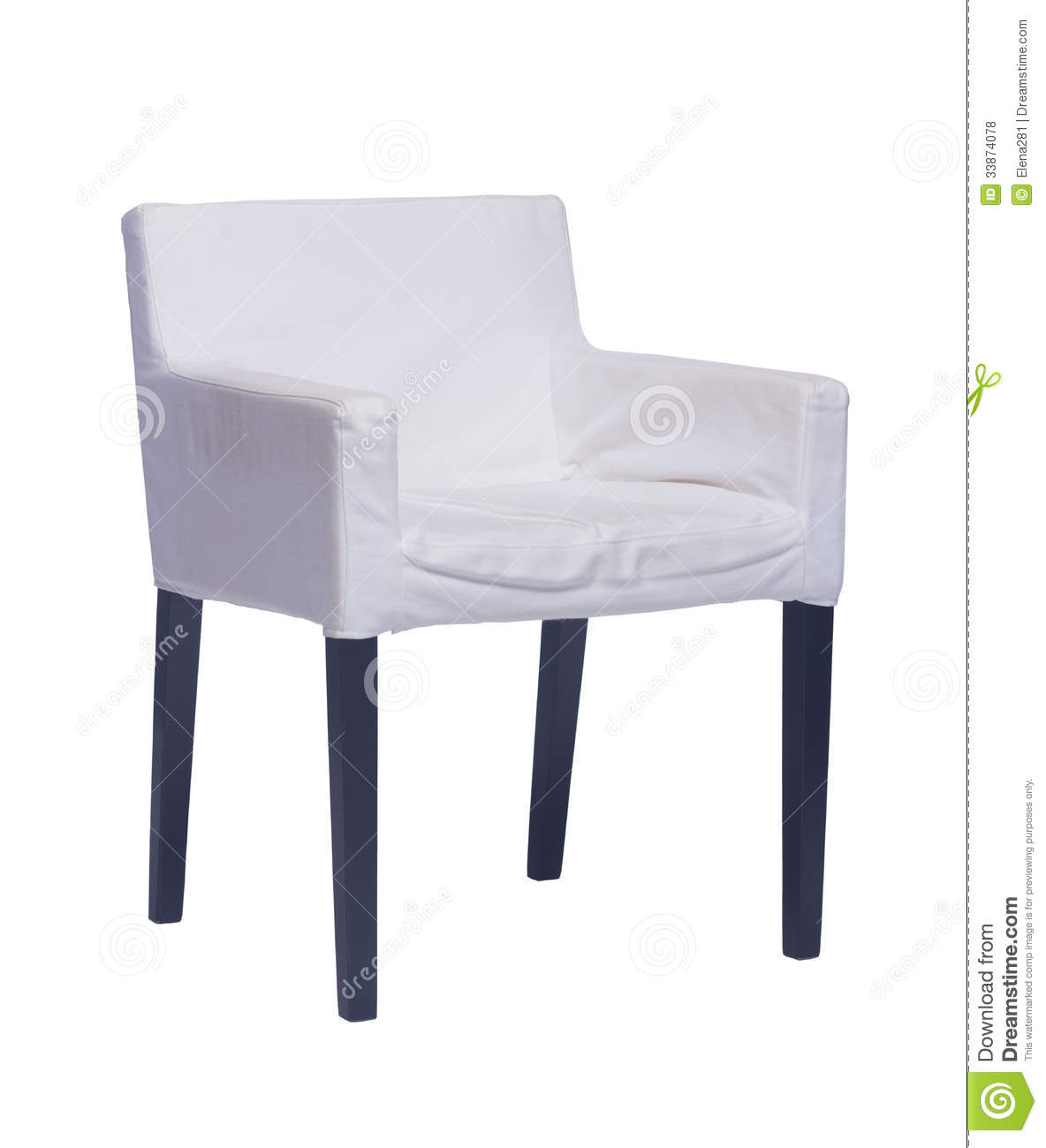 White Chair With Black Legs Isolated On White Royalty Free