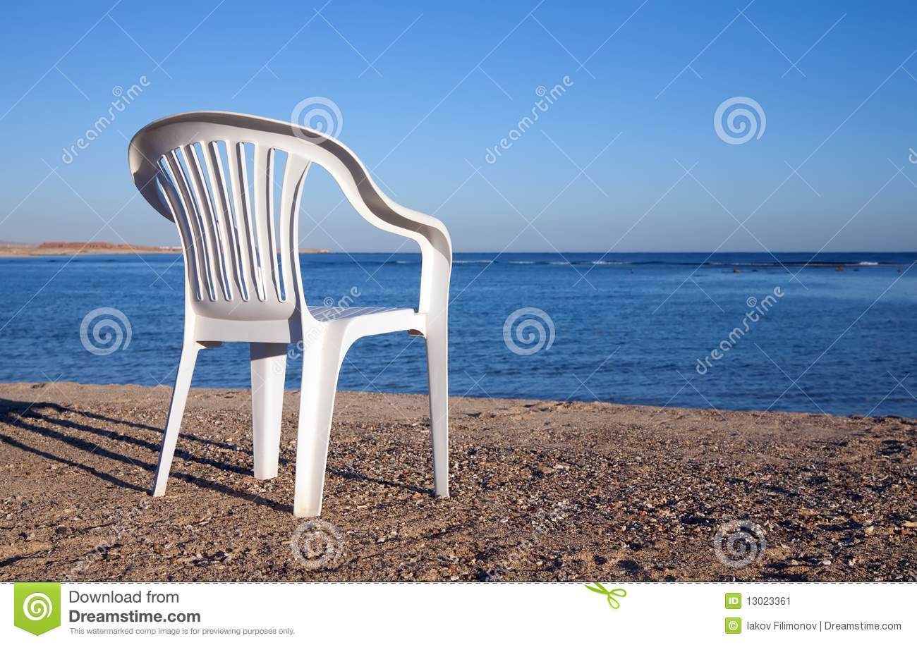 White Chair At Sand Beach Stock Image Image