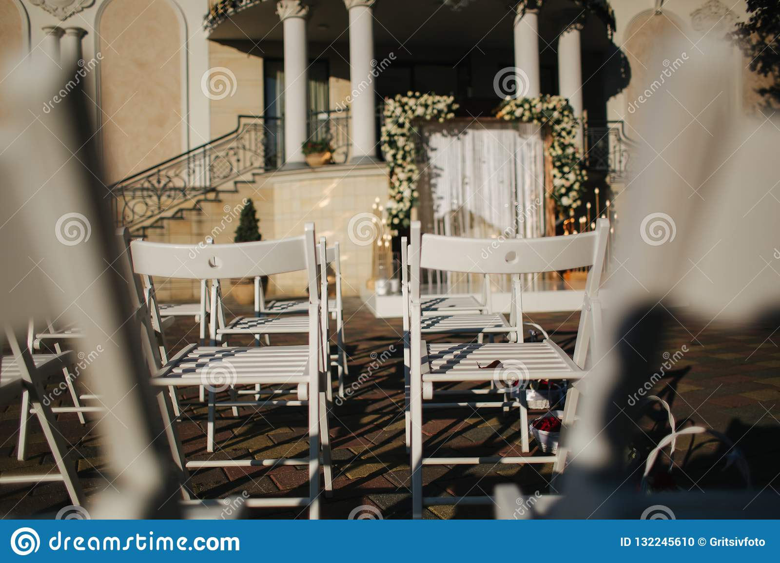 White Chair On Wedding Ceremony Summer Wedding Decoration Outside Stock Photo Image Of Fine Black 132245610