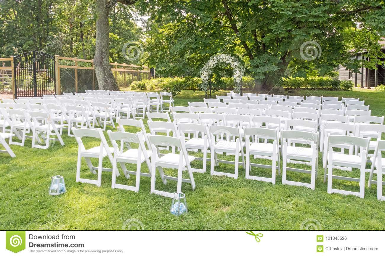 White Chairs Set Up For Wedding Stock Photo Image Of History Event 121345526
