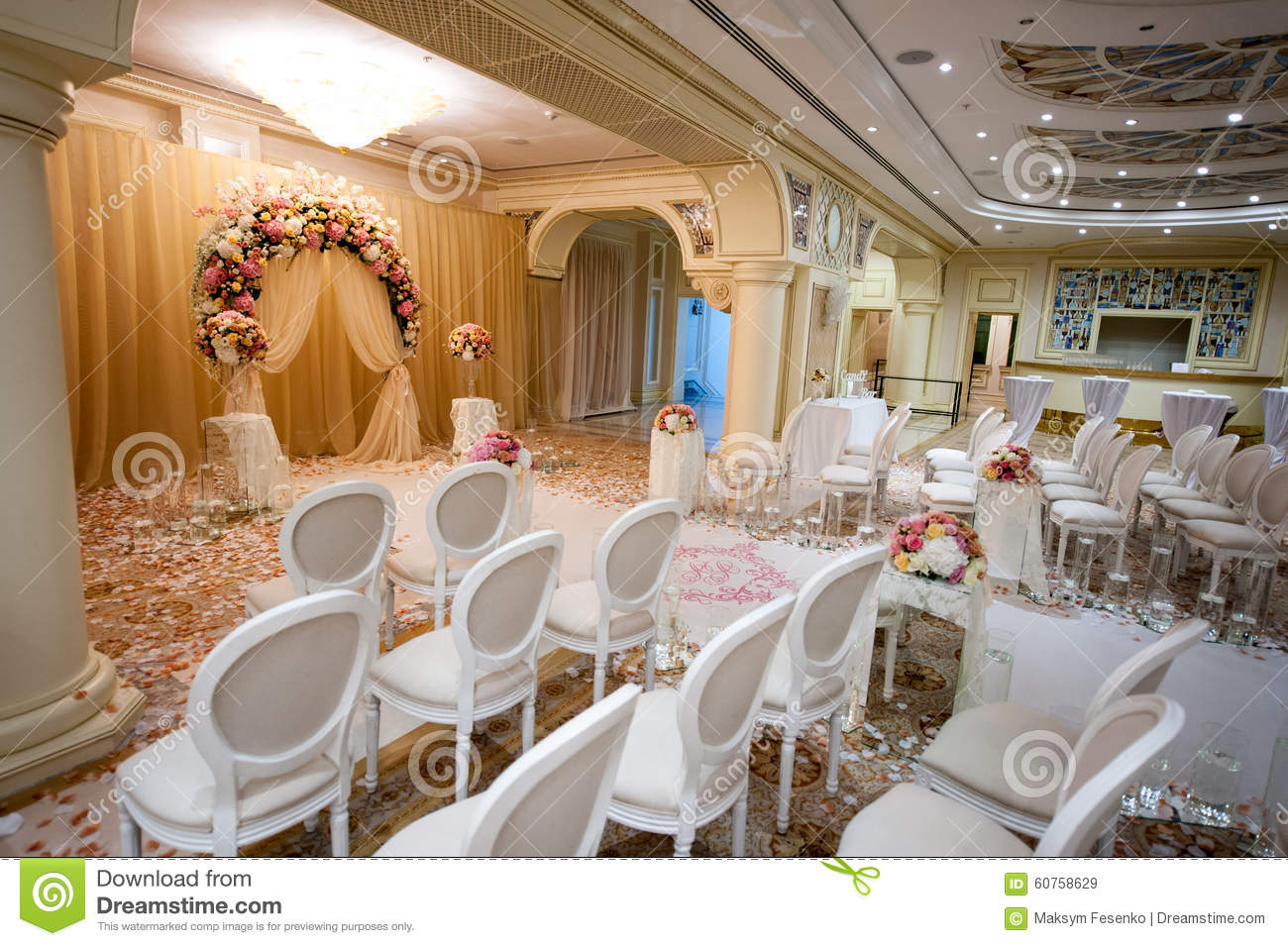 White Chairs At A Wedding Indoor. Stock Photo