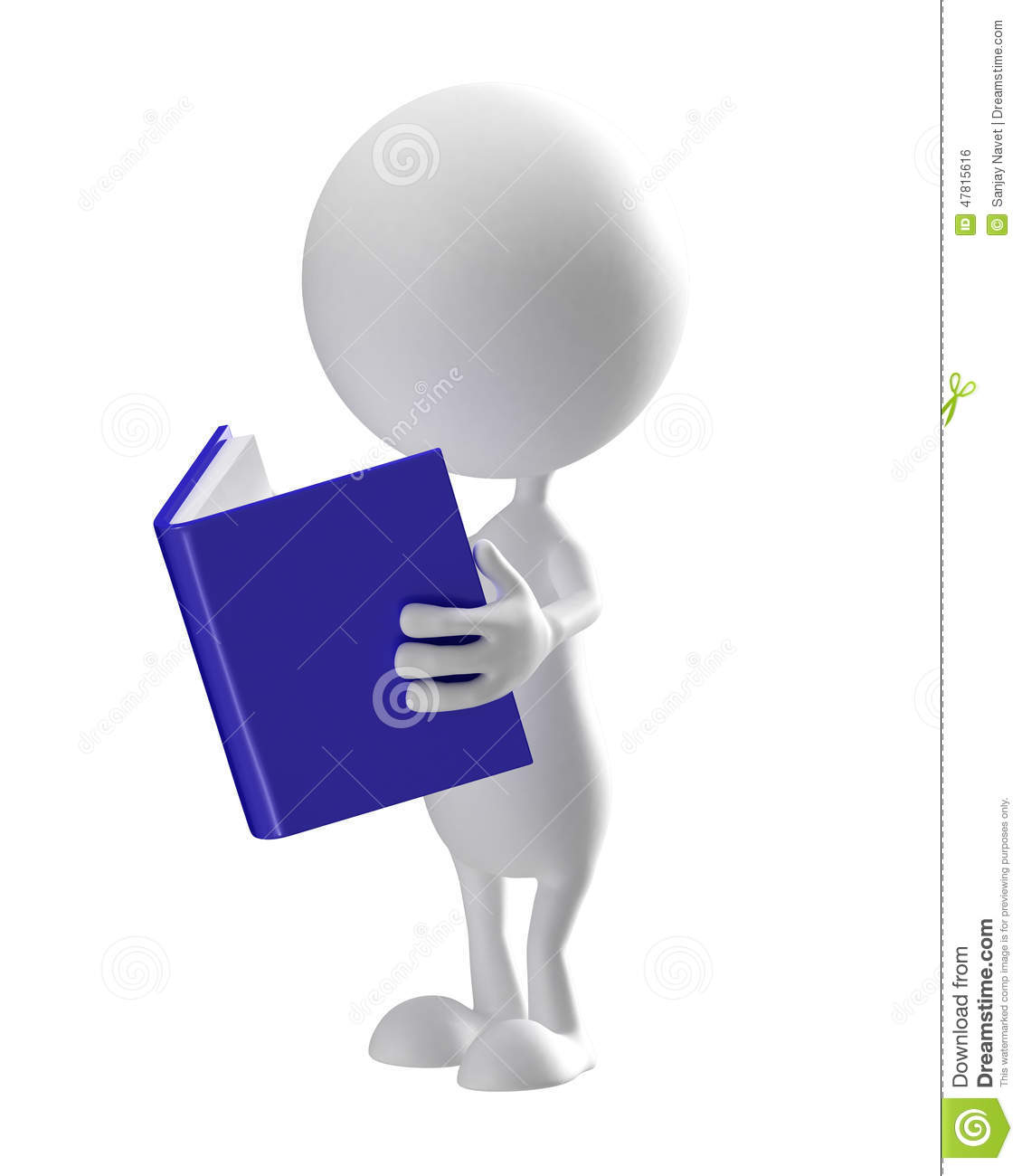 White character with book