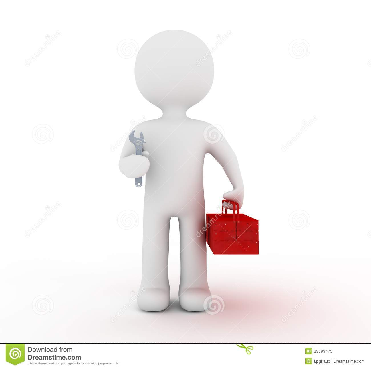 White Character And Toolbox Royalty Free Stock Photo - Image: 23683475