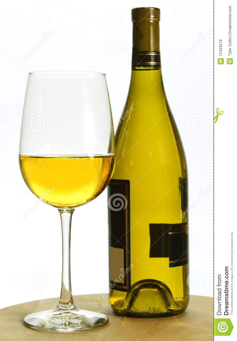White chardonnay wine bottle and glass royalty free stock for Wine bottle glass