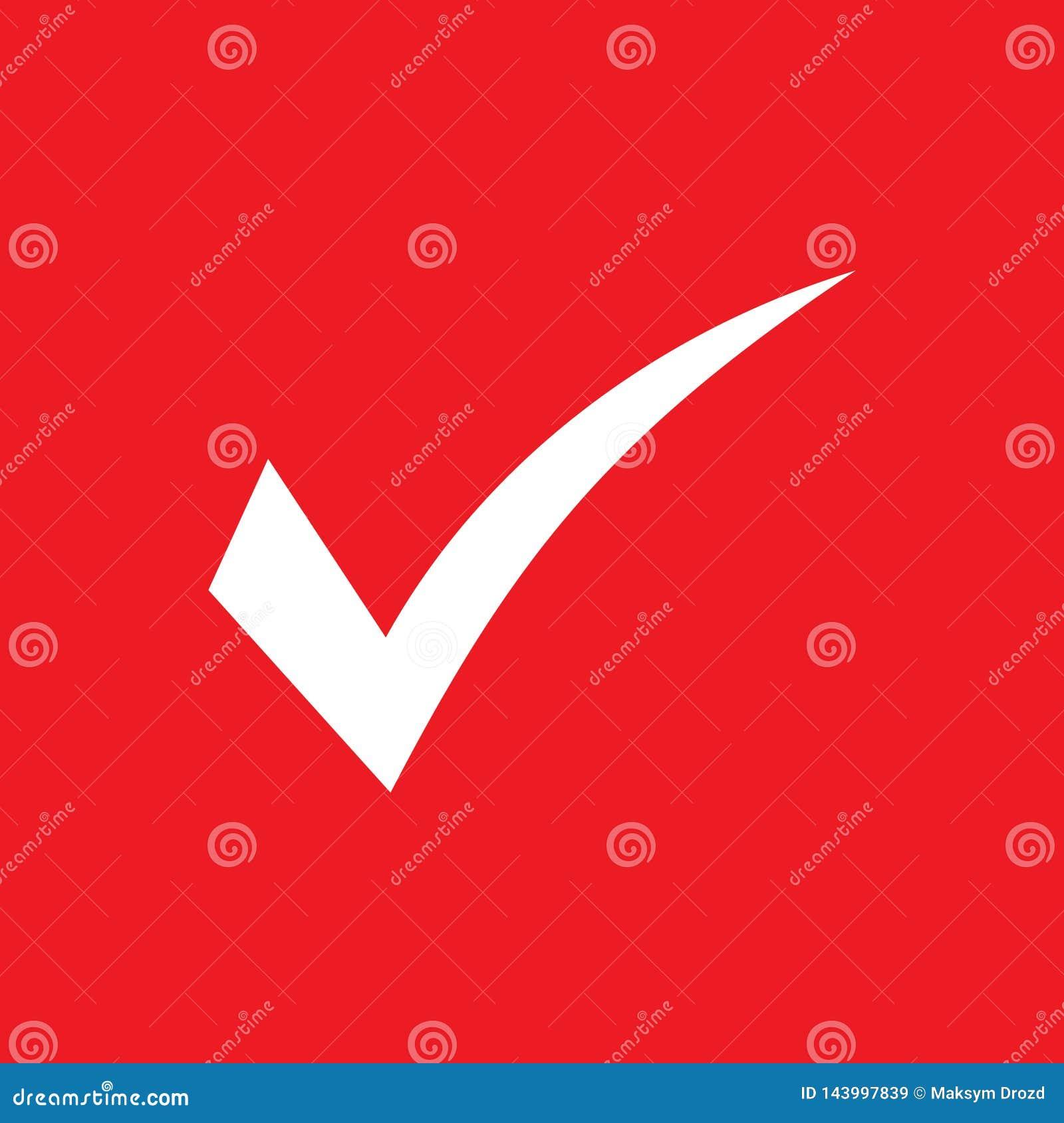 White Check Mark Icon On Red Background  Tick Symbol, Tick