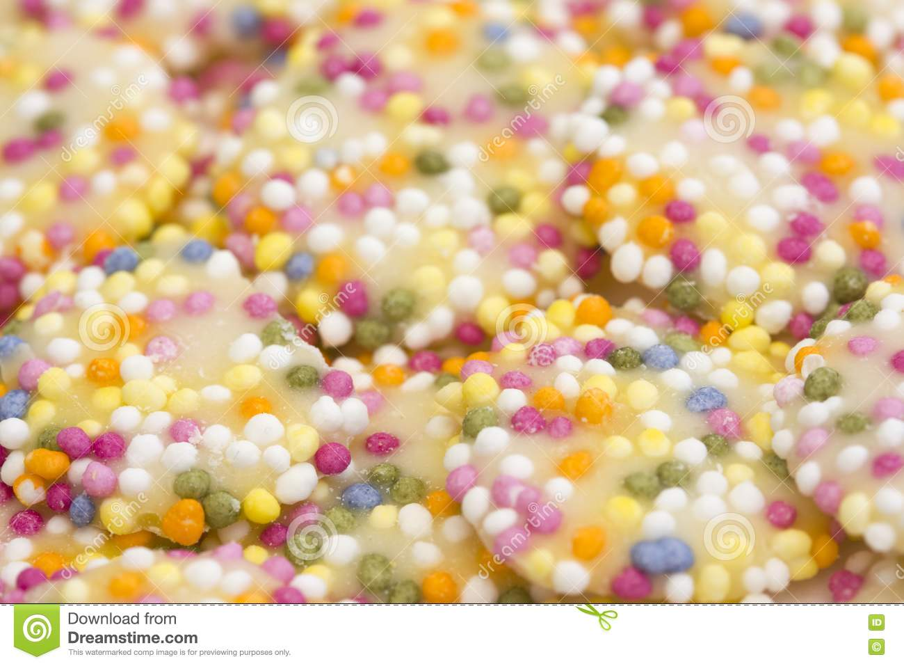 white chocolate buttons  sprinkles stock  image