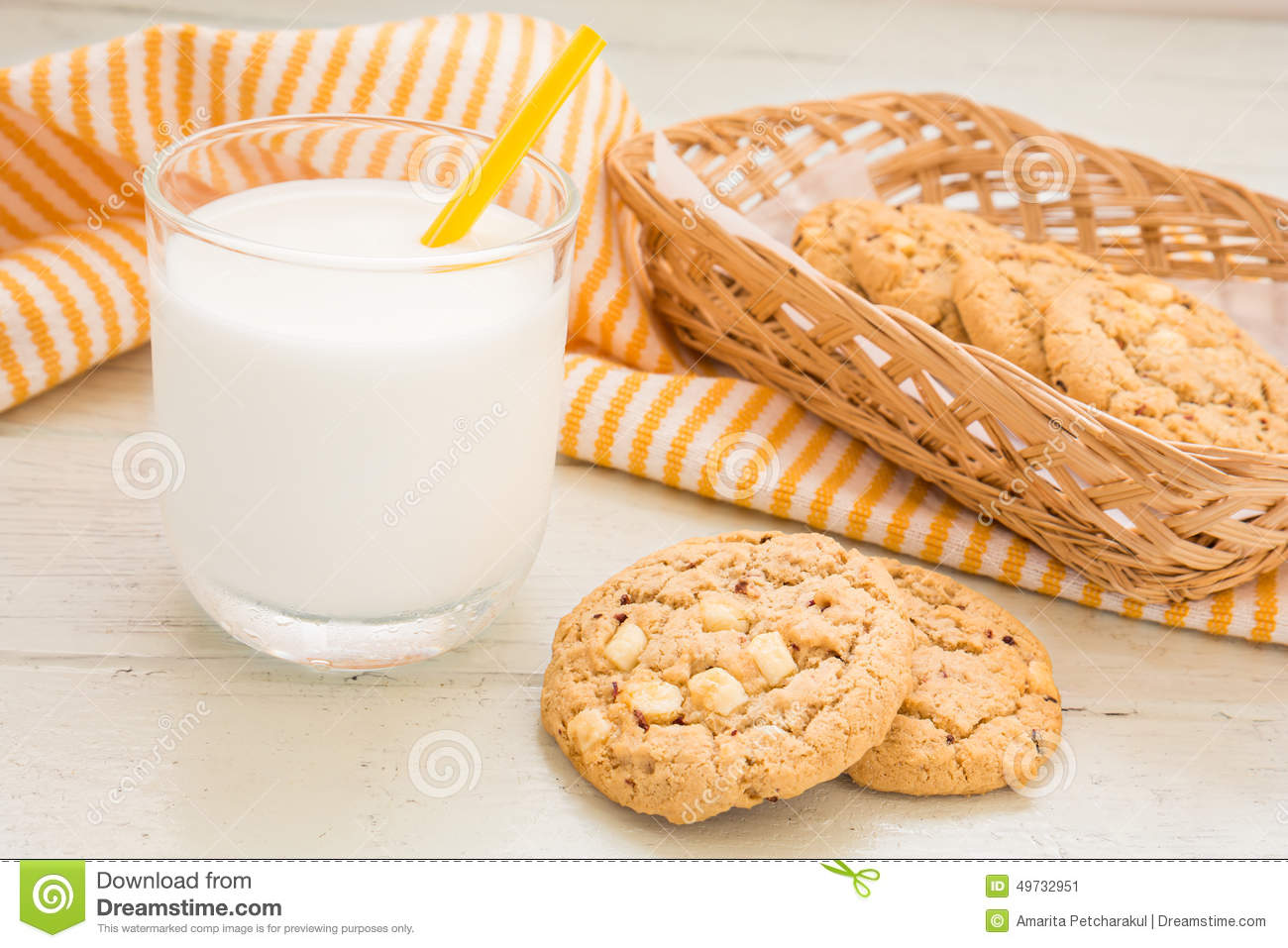 Chocolate Chip Cookie In Basket Stock Photography ...