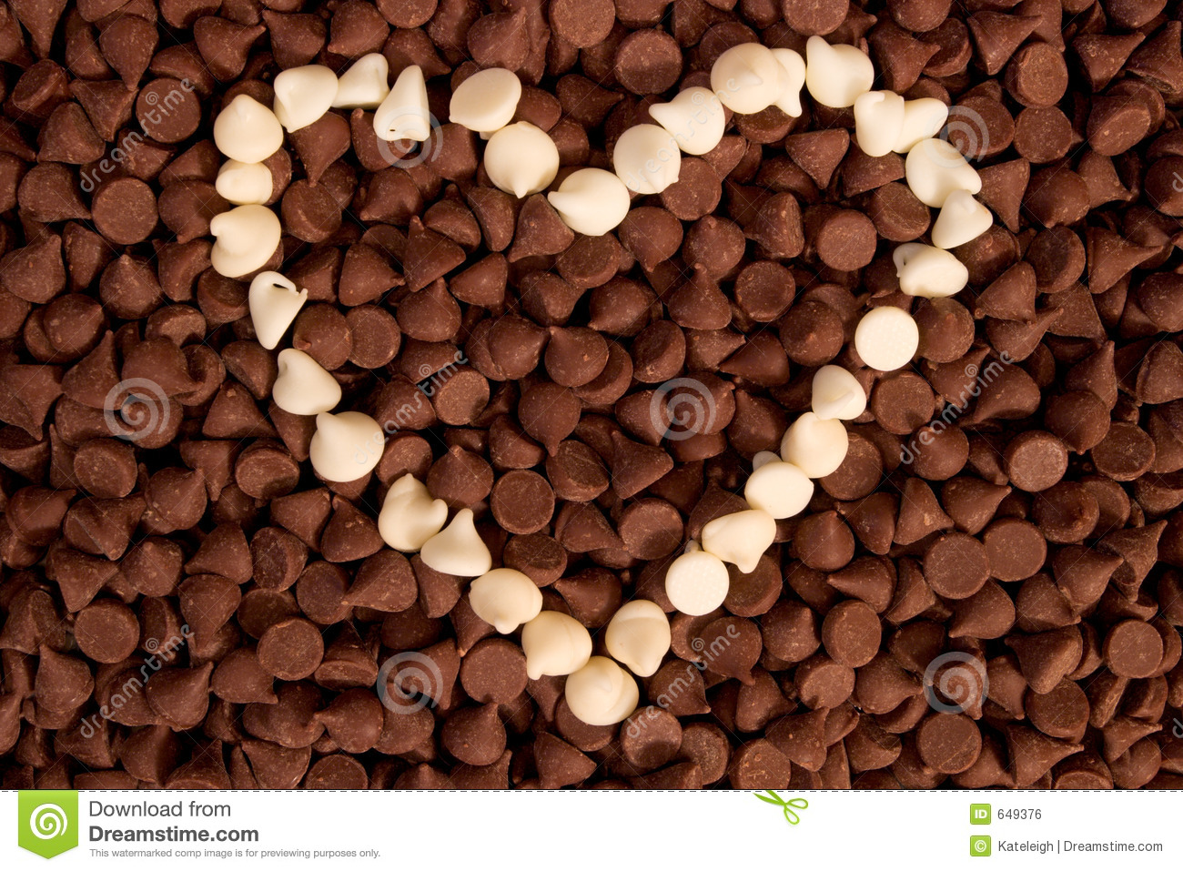 White Chocolate Chip Heart Royalty Free Stock Image - Image: 649376