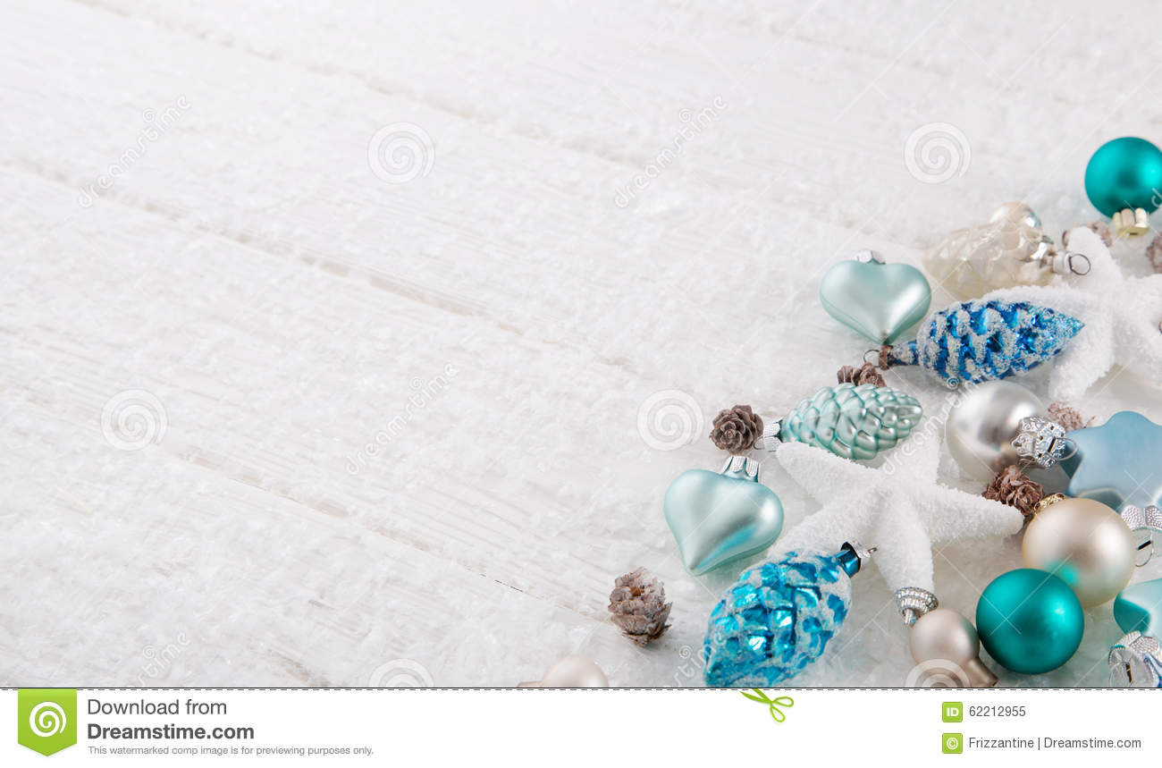 White Christmas Background With Snow And Balls In Turquoise, Blu Stock ...