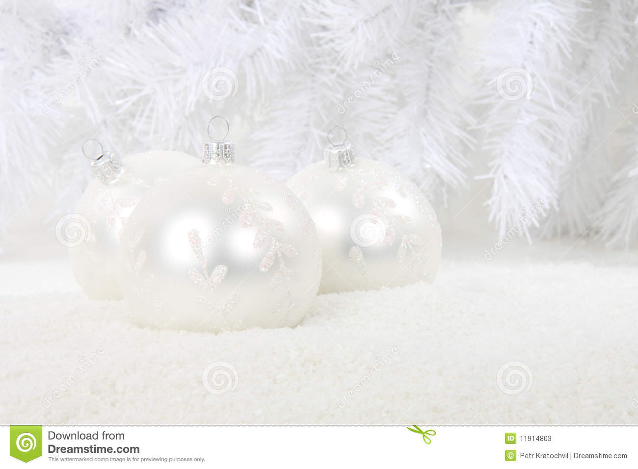 White Christmas Snow Background.White Christmas Baubles In Snow Stock Image Image Of