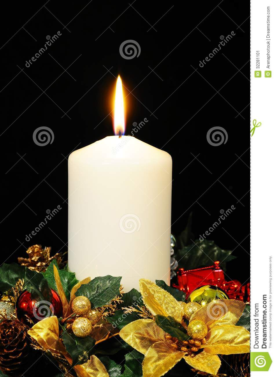 White Christmas candle. stock image. Image of centrepieces ...