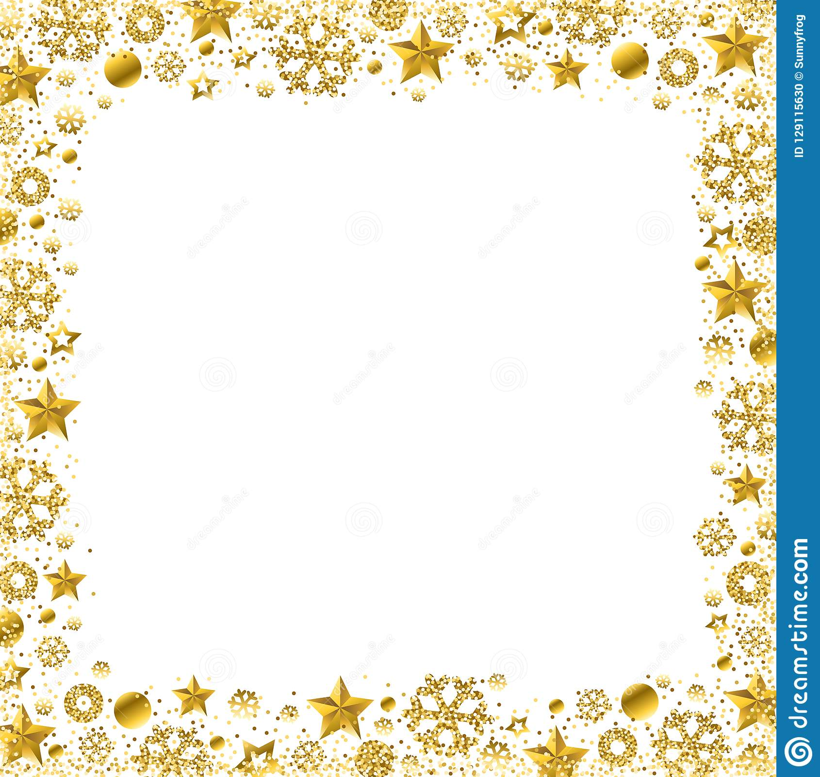 Christmas Card Border.White Christmas Card With Border Of Golden Glittering