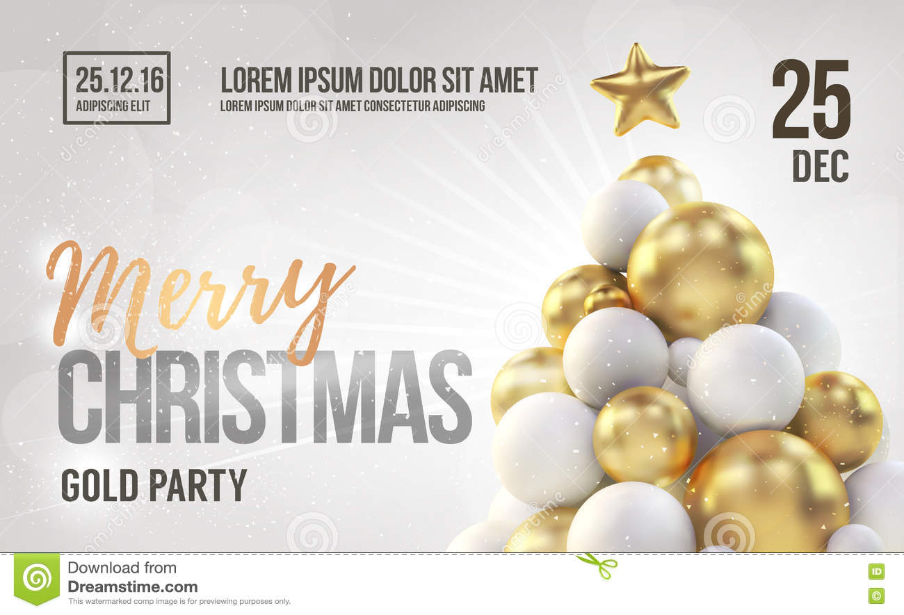 White Christmas Card Or Flyer Template With Golden Christmas Tree