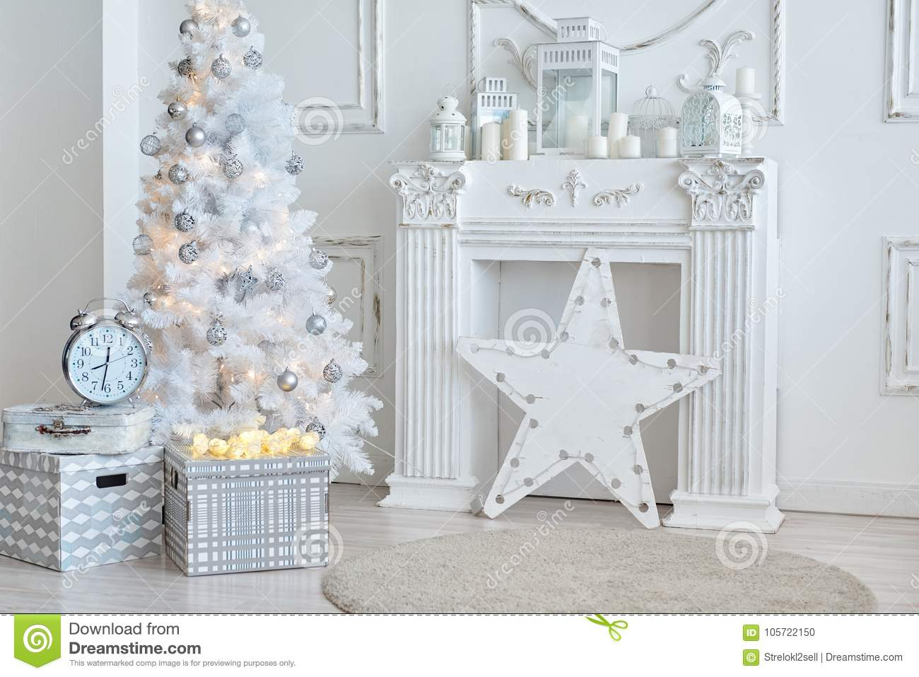 White Christmas Decorations In Studio Stock Photo - Image of ...