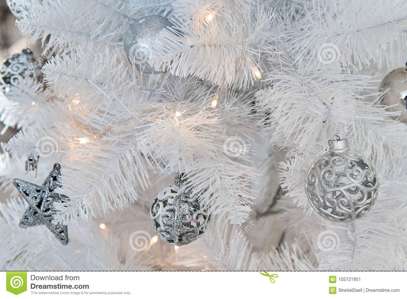 White Christmas Decorations In Studio Stock Image Image Of