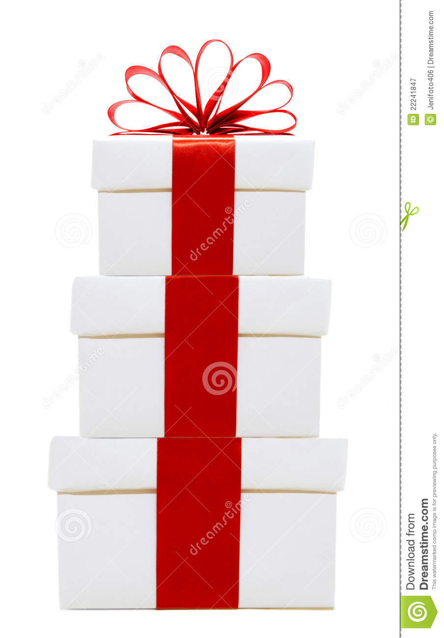 White christmas gift boxes stacked stock image