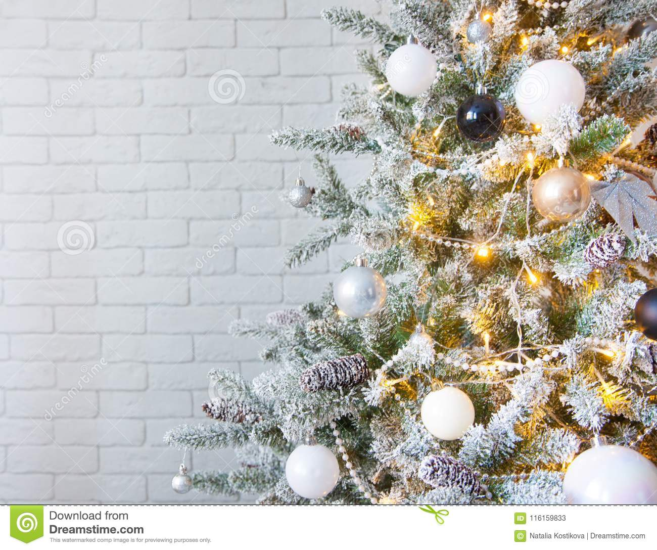 White Christmas Tree With Gold And Silver Ornaments And Balls Stock Image Image Of Craft Confetti 116159833
