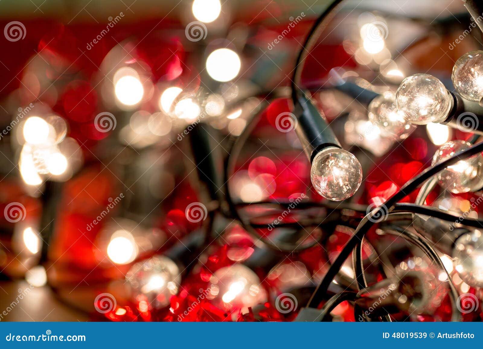 White Christmas Lights Background Stock Photo - Image: 48019539
