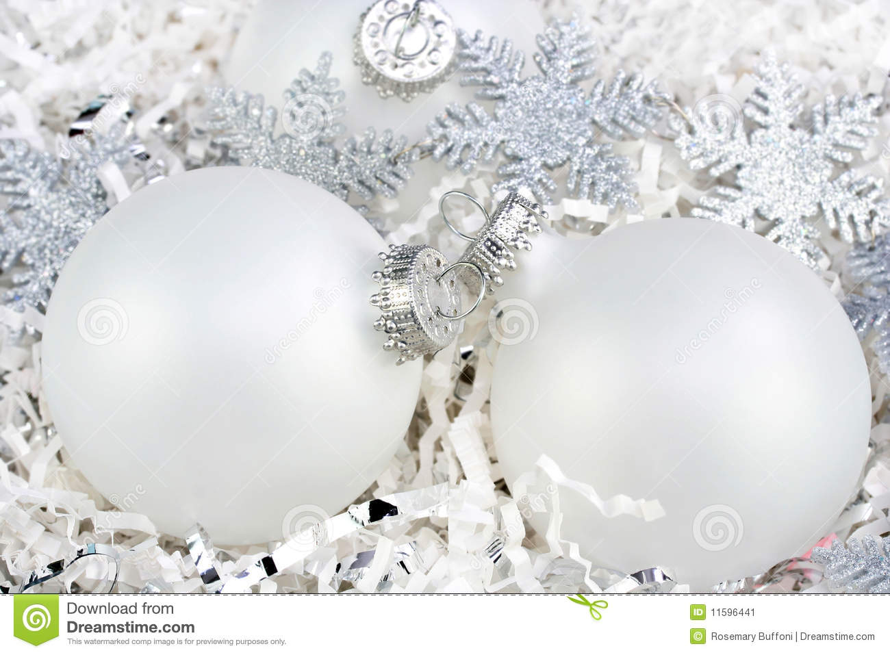 White christmas ornaments with silver snowflakes stock image image 11596441 - Silver and white christmas ...