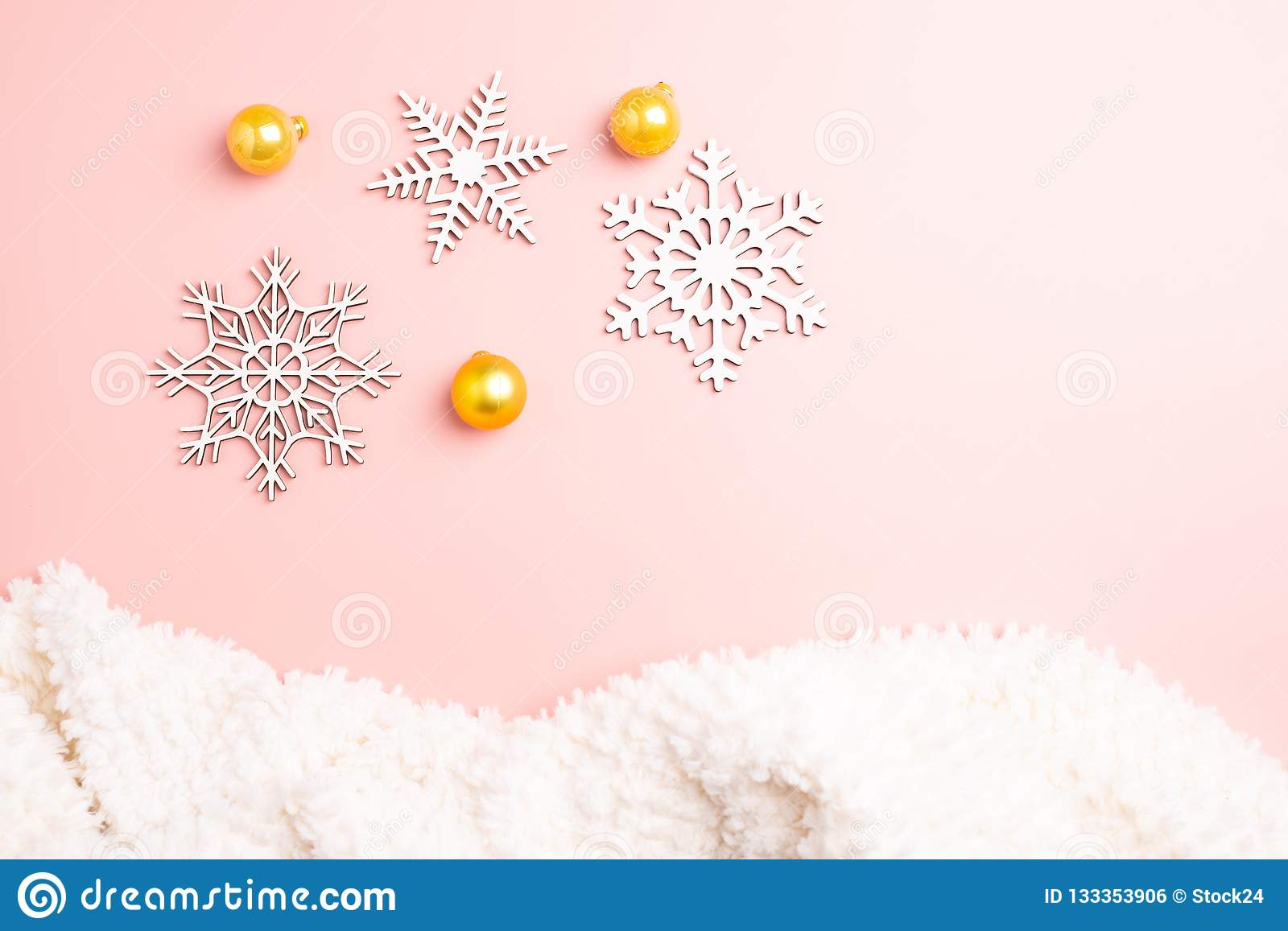 white christmas snowflakes decoration pink background christmas wallpaper flat lay top white christmas snowflakes decoration 133353906
