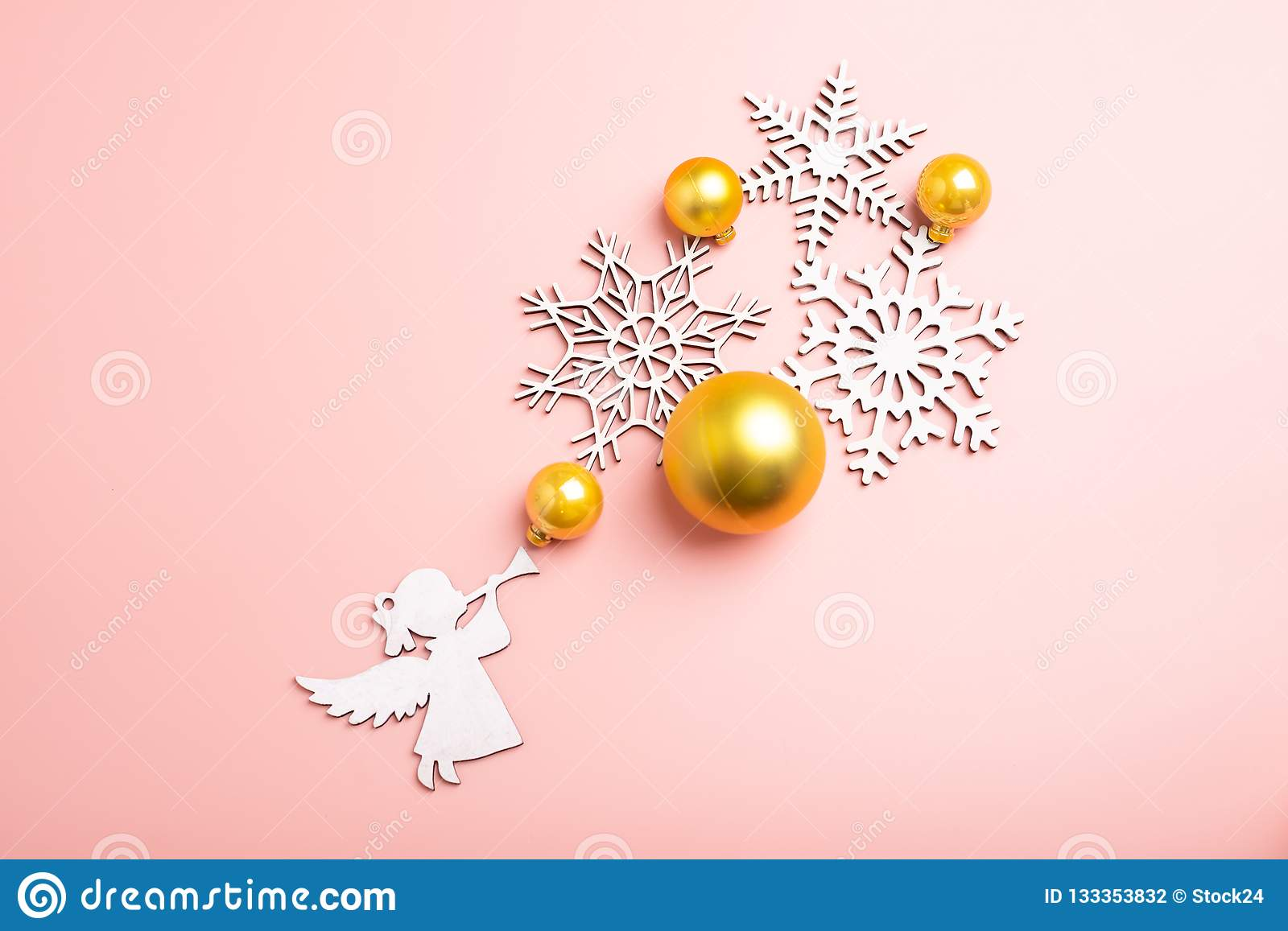 white christmas snowflakes pink background christmas wallpaper flat lay top view angel white christmas snowflakes decoration 133353832