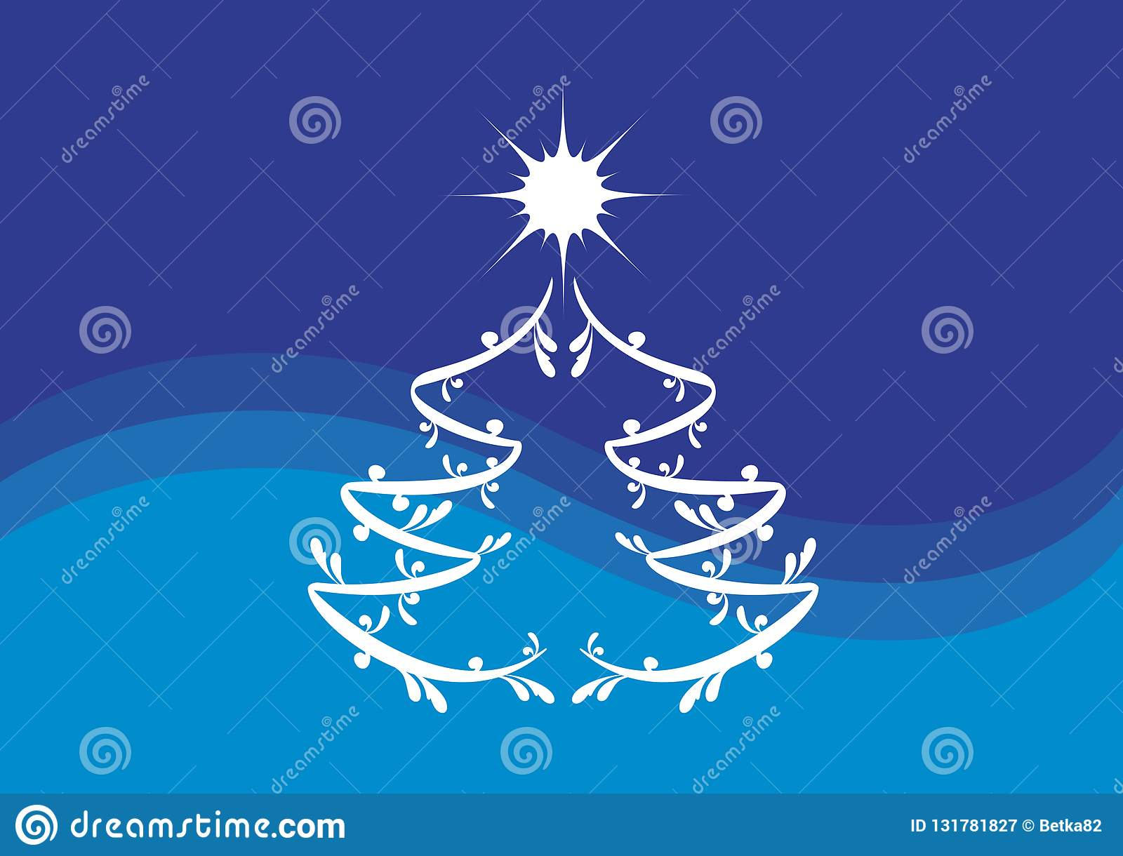Simple Blue And White Christmas Tree Vector Illustration Stock Vector Illustration Of Greeting Holiday 131781827