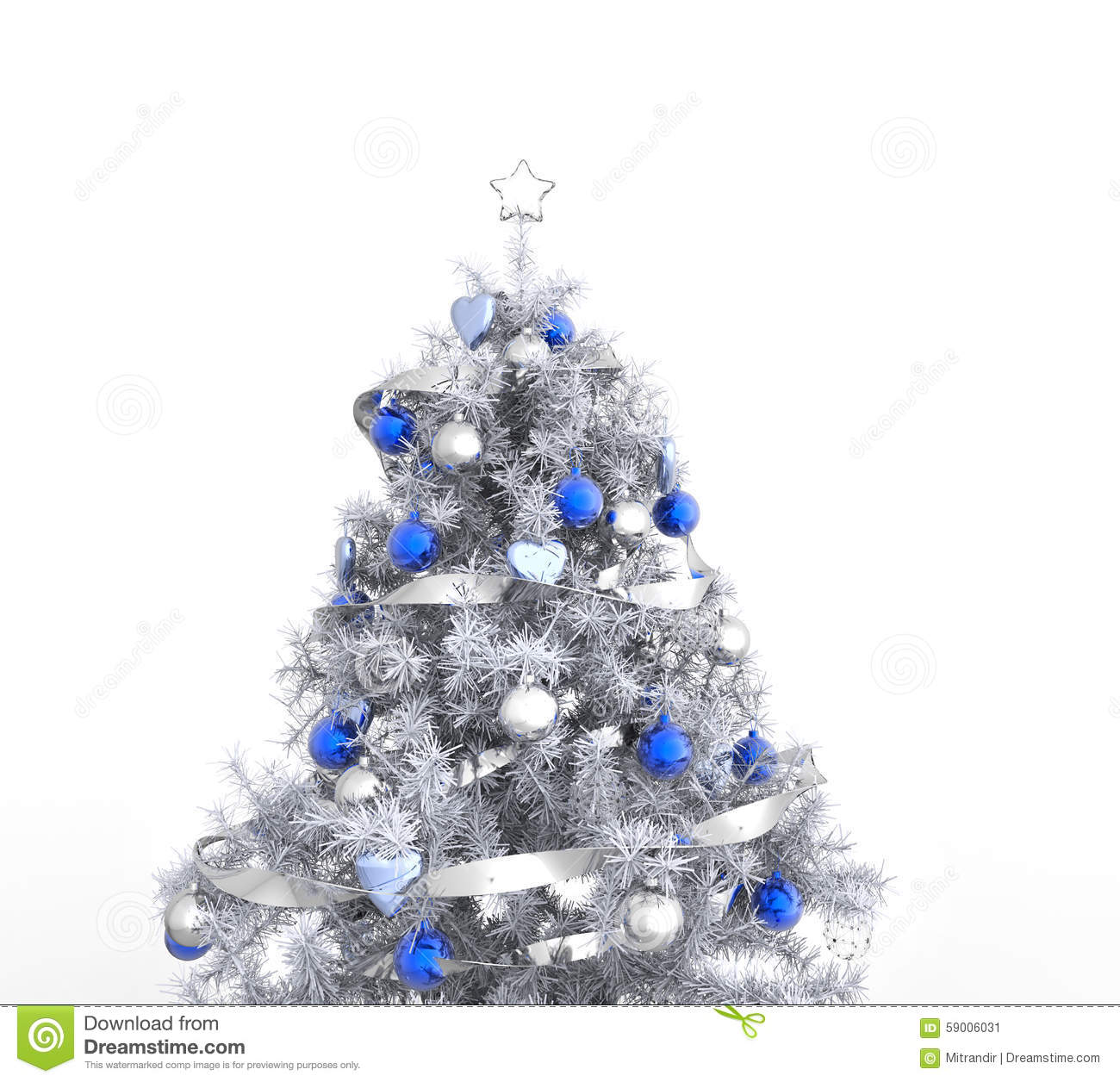 download white christmas tree with blue decorations stock illustration illustration of decorate season