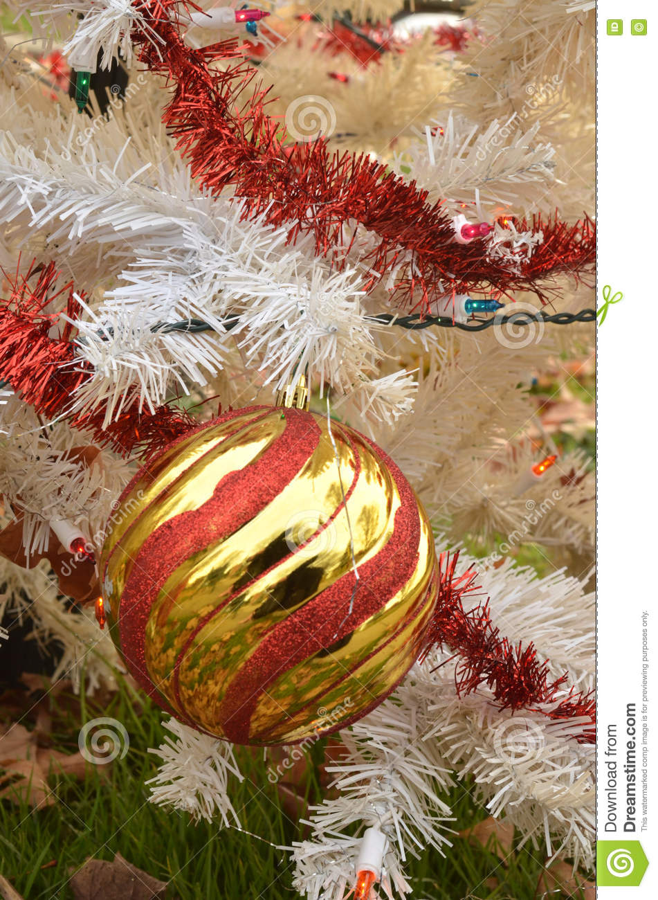 White christmas tree color lights red and gold striped