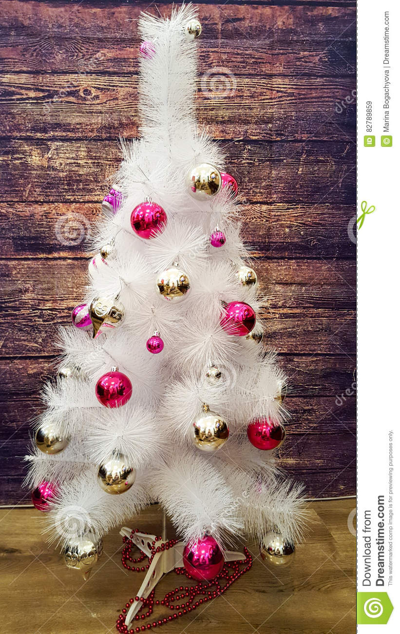 White Christmas Tree Decorated Christmas Tree Decorations Silver And Pink Color Stock Image Image Of Color Christmas 82789859