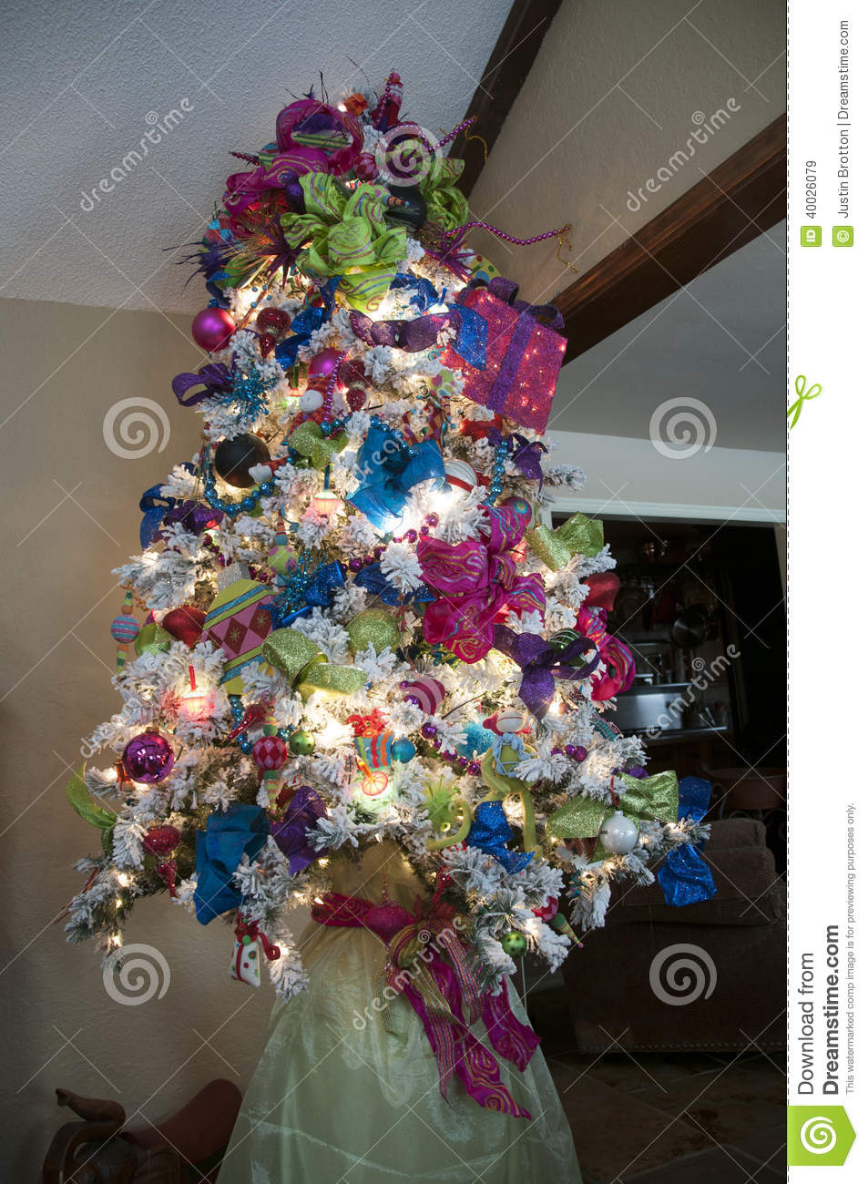 Blue and purple christmas tree decorations - Blue Christmas Decorated Green Purple Tree