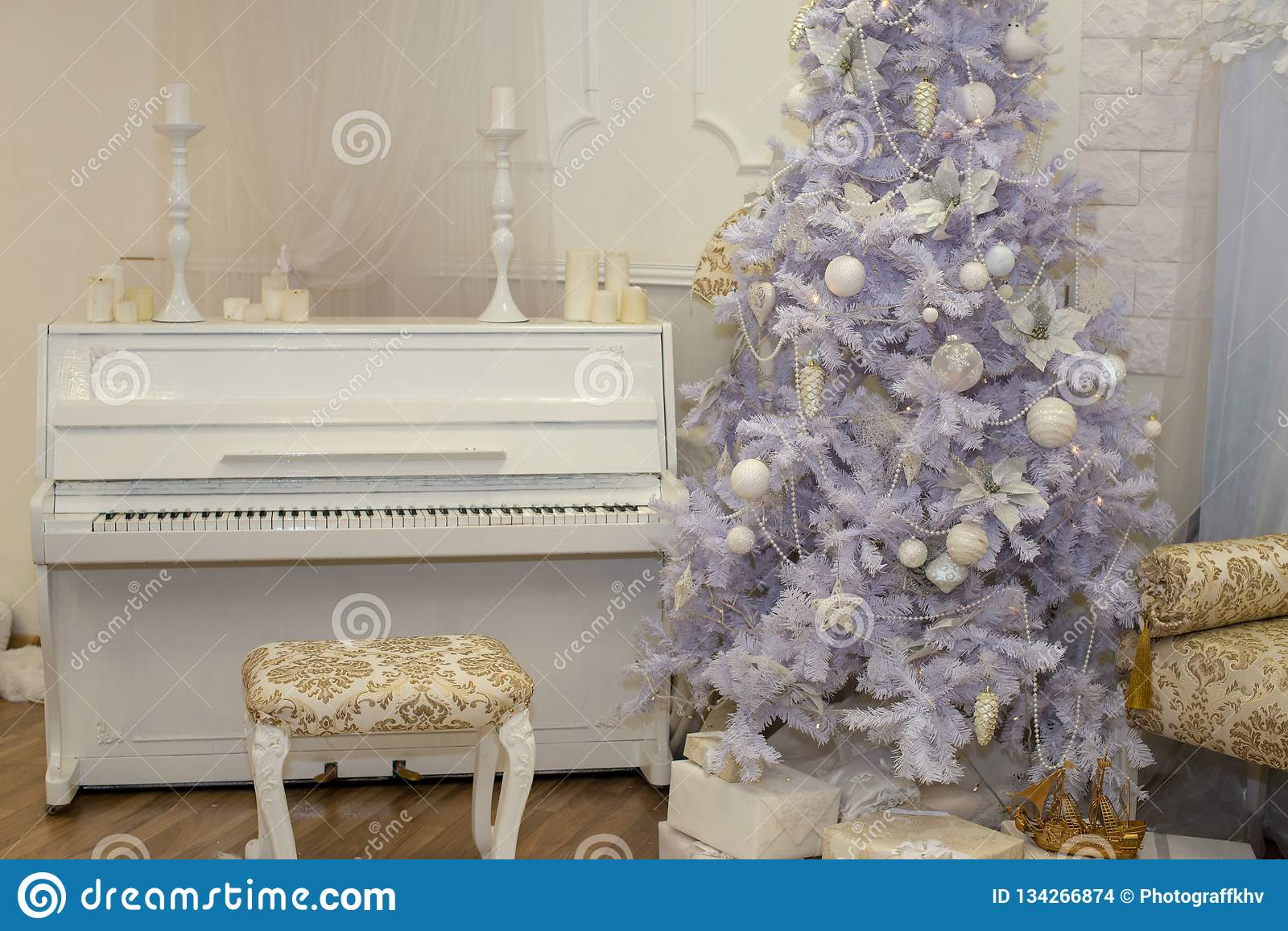 White Christmas Tree Decorated With Silver And Pink Ornaments At The Piano Background Winter Scene New Year Decoration Xmas Stock Photo Image Of Gift Home 134266874
