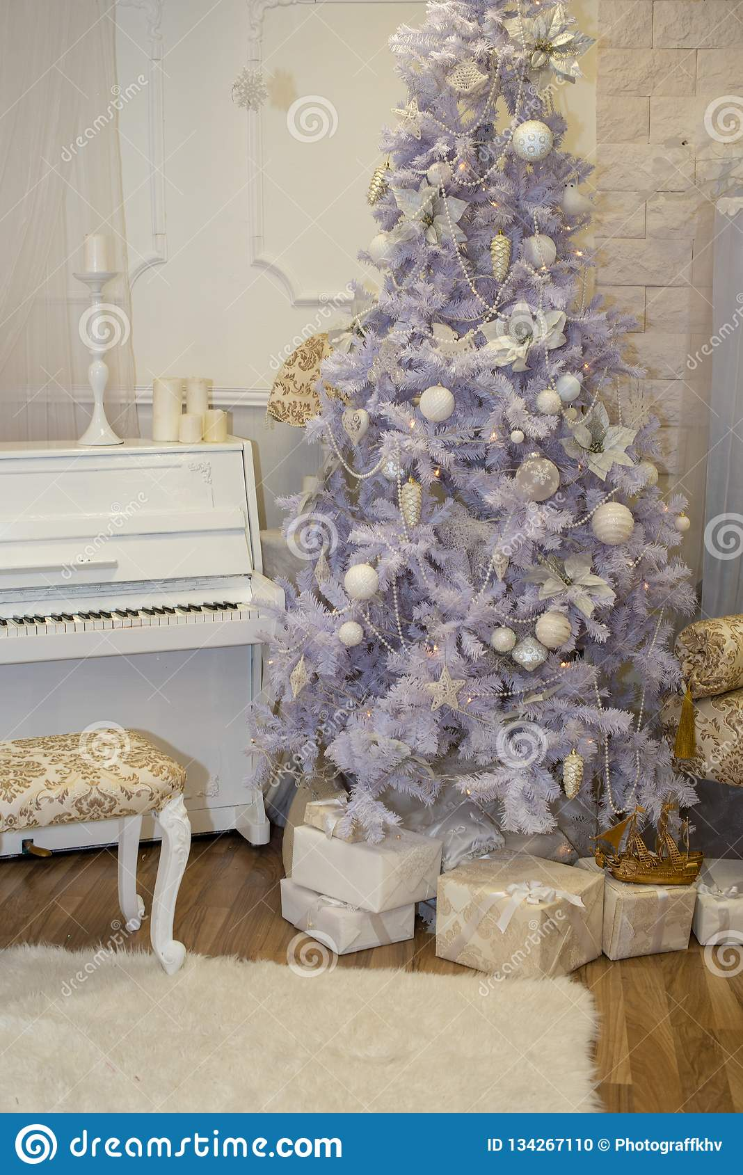 White Christmas Tree Decorated With Silver And Pink Ornaments At The Piano Background Winter Scene New Year Decoration Xmas Stock Photo Image Of Decorative Decor 134267110