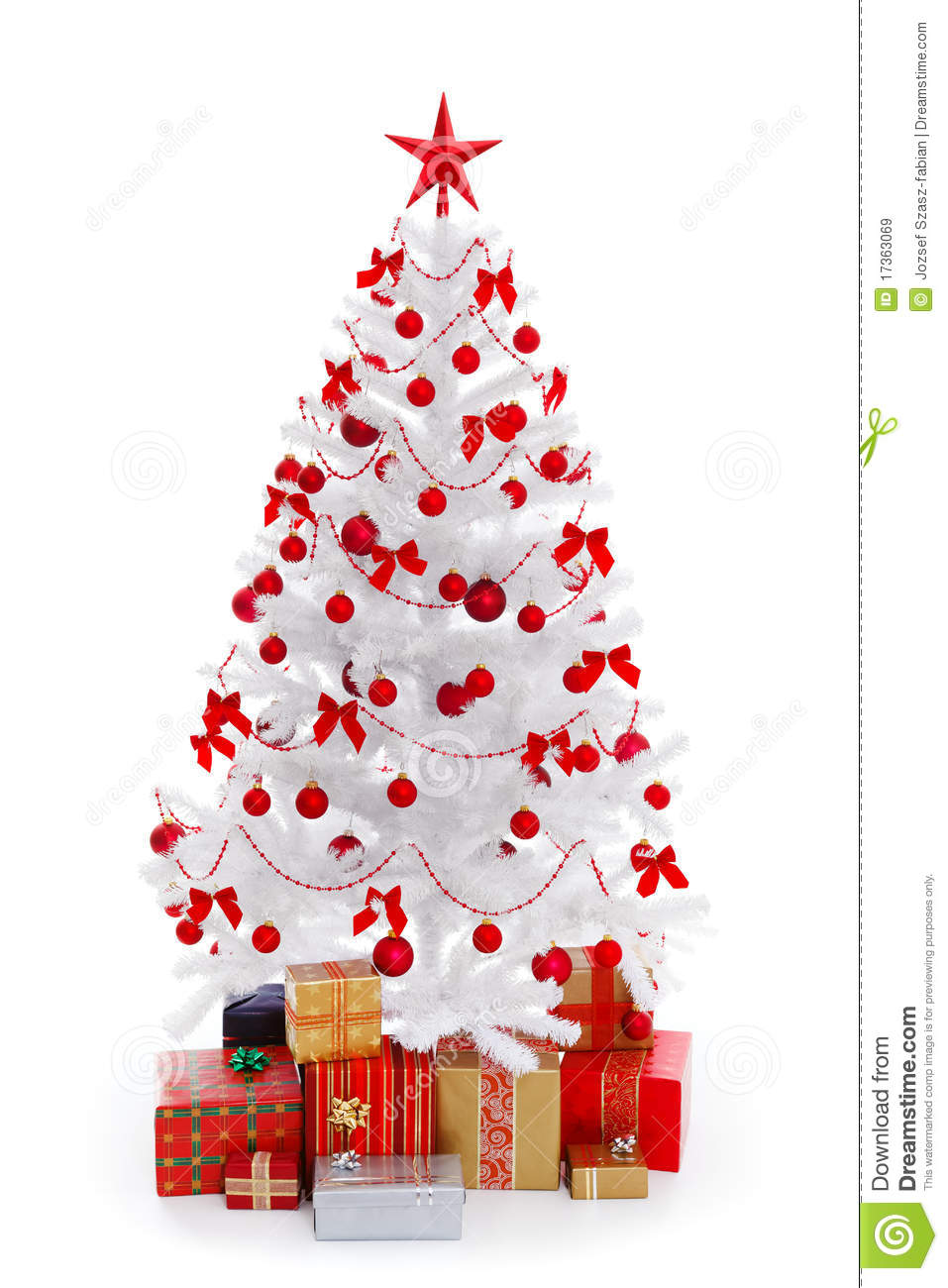 white christmas tree with gifts and red decoration - White Christmas Tree With Red Decorations