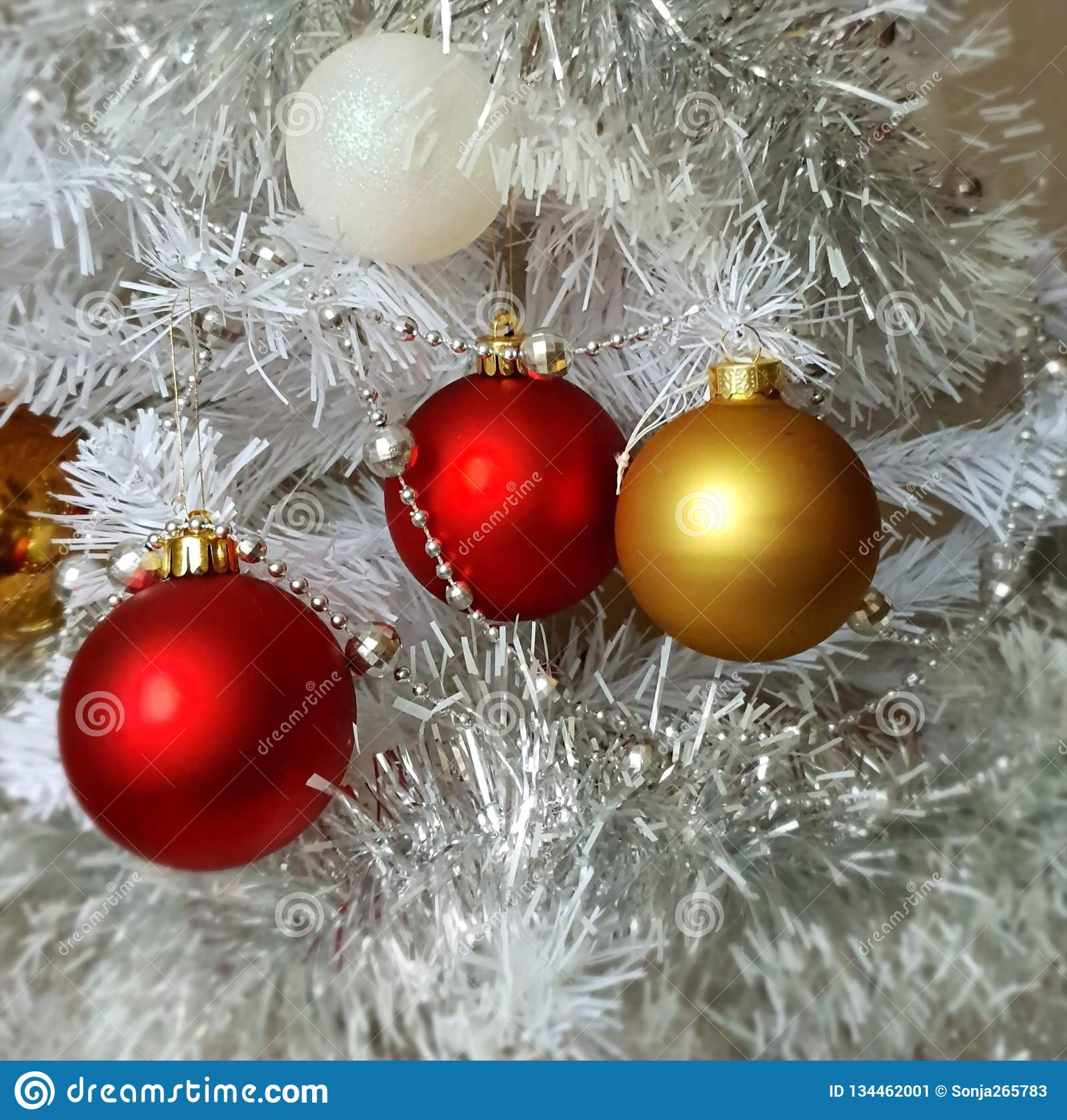 White Christmas Tree Gold Silver Red White Balls Silver Garland Christmas Light Decoration Illumination Ideas Stock Image Image Of Elements Gift 134462001