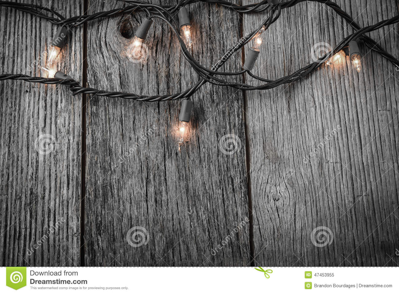 White Christmas Tree Lights With Rustic Wood Stock Image