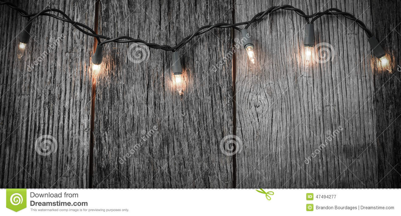 White Christmas Tree Lights With Rustic Wood Stock Image ...