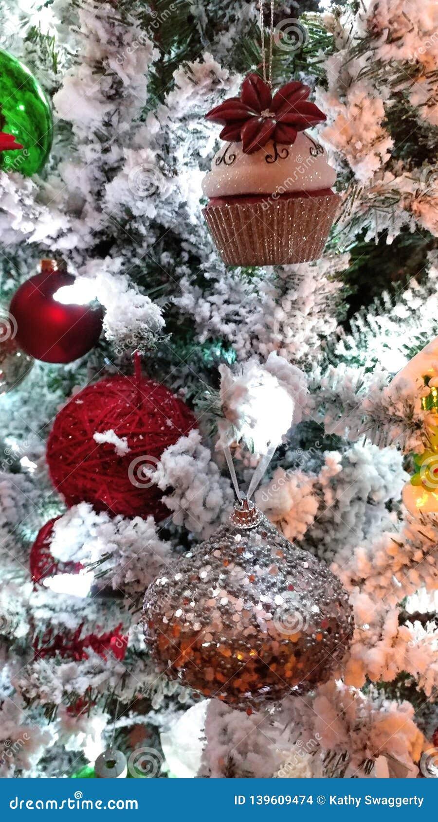 White Christmas Tree Ornaments Glam Glitter Stock Photo Image Of High Glitter 139609474