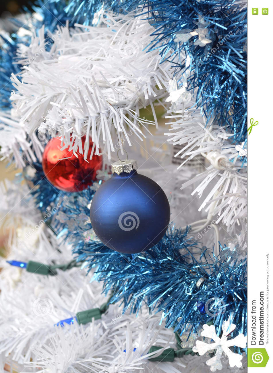 White Christmas Tree Red And Blue Ornaments Stock Photo Image Of Metal Decorations 81939022