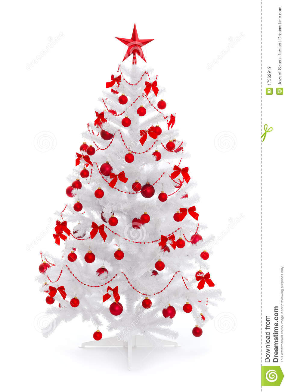 White christmas tree with red decoration stock image for Decoration sapin de noel americain
