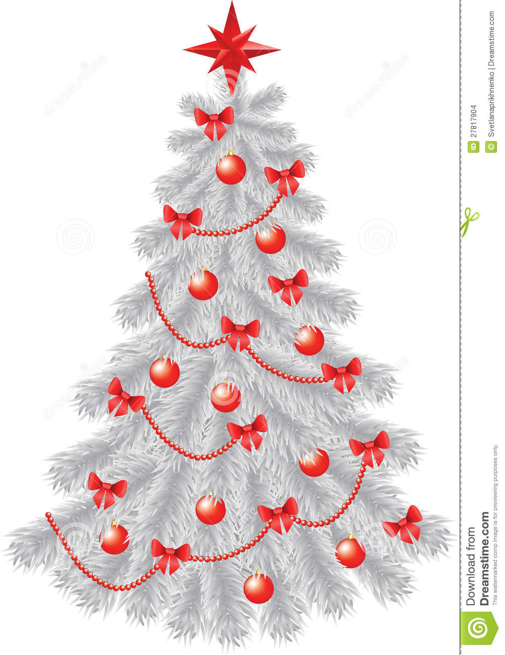 white christmas tree with red decoration - White Christmas Tree With Red Decorations
